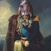 Portrait de chien bassethound en officier 100×70 cm
